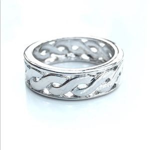 Silver Braided Rhodium Plated Brass Band Ring